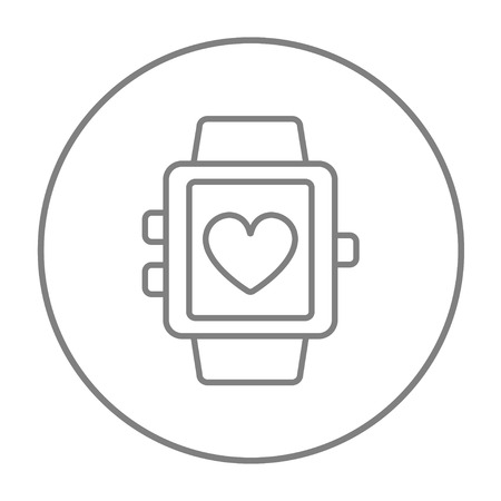 grey line: Smartwatch with heart sign line icon for web, mobile and infographics. Vector grey thin line icon in the circle isolated on white background. Illustration