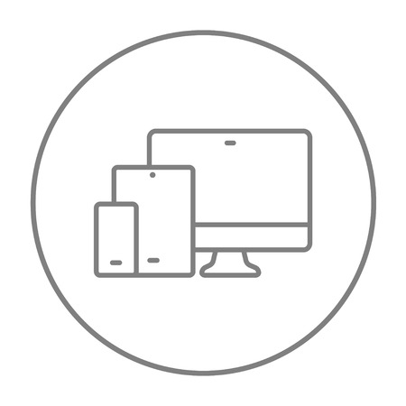 touchpad: Responsive web design line icon for web, mobile and infographics. Vector grey thin line icon in the circle isolated on white background.