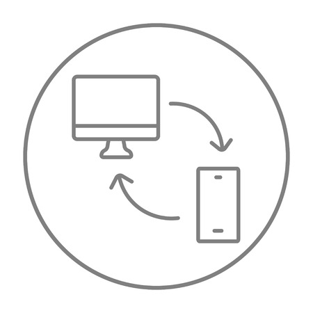 synchronization: Synchronization computer with mobile device line icon for web, mobile and infographics. Vector grey thin line icon in the circle isolated on white background.