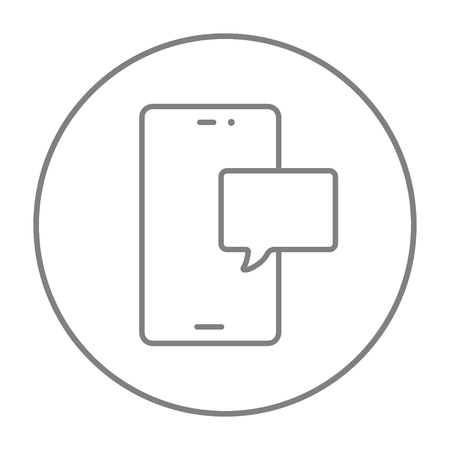 touch screen phone: Touch screen phone with message line icon for web, mobile and infographics. Vector grey thin line icon in the circle isolated on white background.