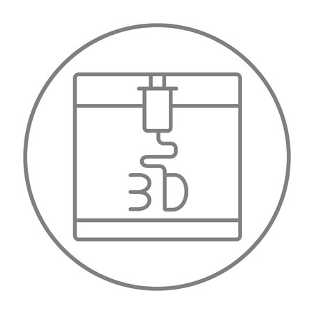 polymerization: Tree D printing line icon for web, mobile and infographics. Vector grey thin line icon in the circle isolated on white background.