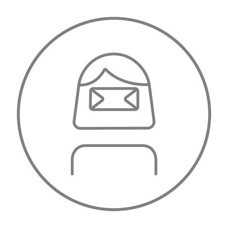 Femme portant l'icône de ligne de casque de réalité virtuelle pour le web, mobile et infographie. Icône de fine ligne vecteur gris dans le cercle isolé sur fond blanc. Banque d'images - 51390921