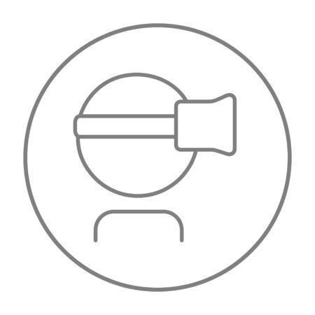 Homme portant l'icône de ligne de casque de réalité virtuelle pour le web, mobile et infographie. Icône de fine ligne vecteur gris dans le cercle isolé sur fond blanc. Banque d'images - 51390922