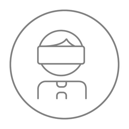 Man wearing virtual reality headset line icon for web, mobile and infographics. Vector grey thin line icon in the circle isolated on white background.