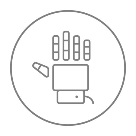 Robot hand line icon for web, mobile and infographics. Vector grey thin line icon in the circle isolated on white background.