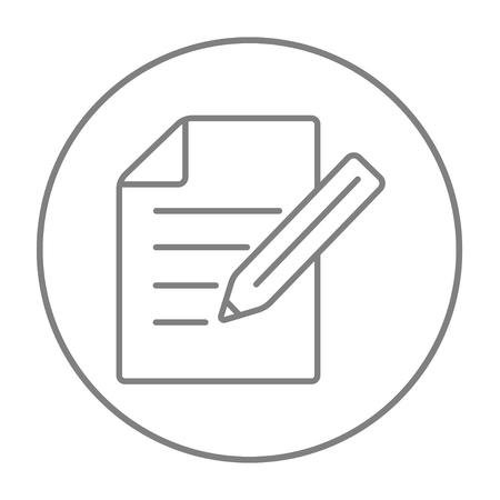 Fiche et un crayon icône de la ligne pour le web, le mobile et l'infographie. Vecteur gris mince ligne icône dans le cercle isolé sur fond blanc.