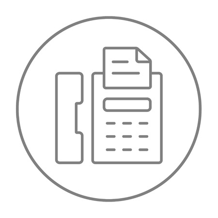 fax machine: Fax machine line icon for web, mobile and infographics. Vector grey thin line icon in the circle isolated on white background.