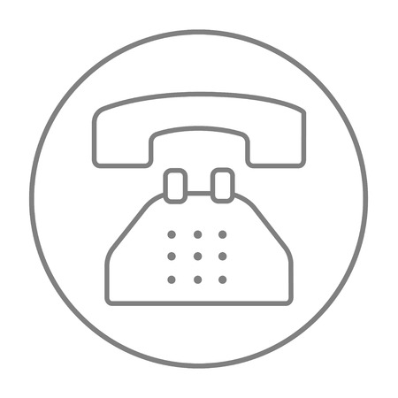 telephone line: Telephone line icon for web, mobile and infographics. Vector grey thin line icon in the circle isolated on white background. Illustration