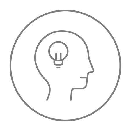 thin bulb: Human head with light bulb line icon for web, mobile and infographics. Vector grey thin line icon in the circle isolated on white background.