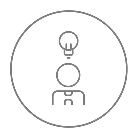 thin bulb: Businessman with light bulb line icon for web, mobile and infographics. Vector grey thin line icon in the circle isolated on white background.