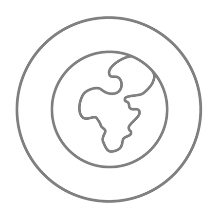 transnational: Globe line icon for web, mobile and infographics. Vector grey thin line icon in the circle isolated on white background.