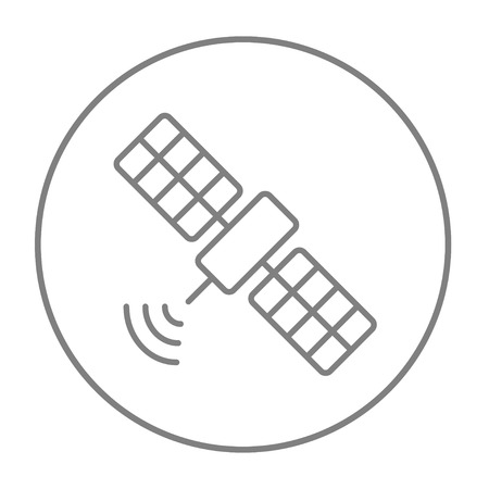Satellite line icon for web, mobile and infographics. Vector grey thin line icon in the circle isolated on white background.