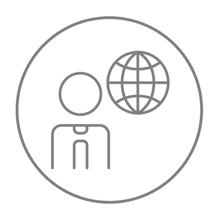 transnational: Man with globe line icon for web, mobile and infographics. Vector grey thin line icon in the circle isolated on white background. Illustration
