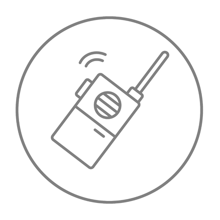 transmit: Portable radio set line icon for web, mobile and infographics. Vector grey thin line icon in the circle isolated on white background.