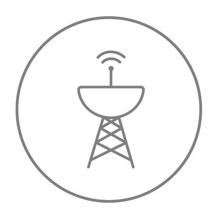 Radar satellite dish line icon for web, mobile and infographics. Vector grey thin line icon in the circle isolated on white background.
