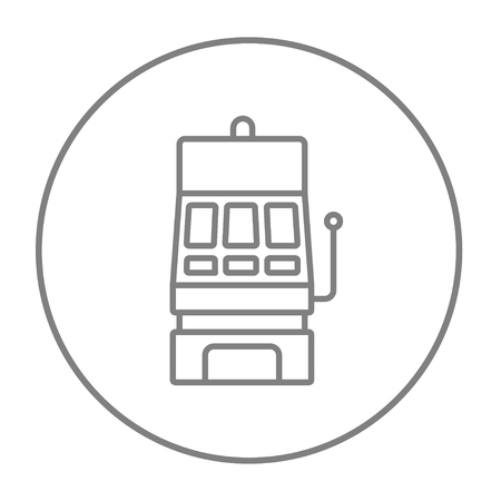 slot in: Slot machine line icon for web, mobile and infographics. Vector grey thin line icon in the circle isolated on white background. Illustration