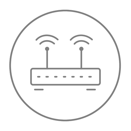 wireless icon: Wireless router line icon for web, mobile and infographics. Vector grey thin line icon in the circle isolated on white background.