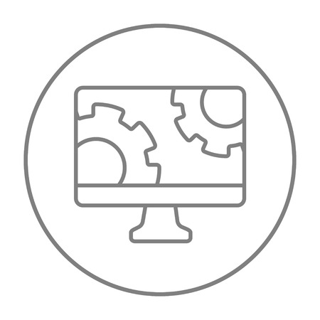 Computer monitor with gears line icon for web, mobile and infographics. Vector grey thin line icon in the circle isolated on white background.