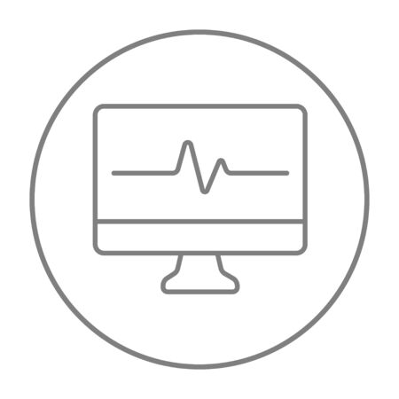 oscillation: Heart beat monitor line icon for web, mobile and infographics. Vector grey thin line icon in the circle isolated on white background.