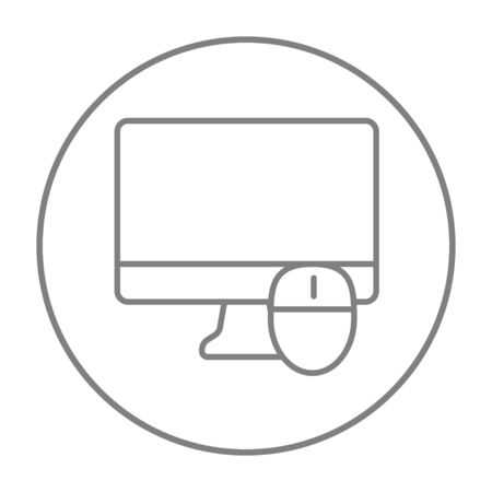 liquid crystal display: Computer monitor and mouse line icon for web, mobile and infographics. Vector grey thin line icon in the circle isolated on white background. Illustration