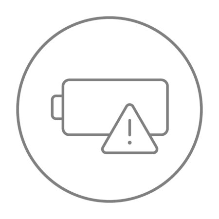 Empty battery line icon for web, mobile and infographics. Vector grey thin line icon in the circle isolated on white background.  イラスト・ベクター素材