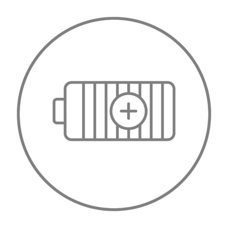 fully: Fully charged battery line icon for web, mobile and infographics. Vector grey thin line icon in the circle isolated on white background.