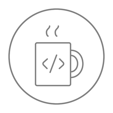 ean: Cup of coffee with a code sign line icon for web, mobile and infographics. Vector grey thin line icon in the circle isolated on white background.