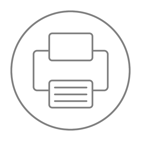 ink jet: Printer line icon for web, mobile and infographics. Vector grey thin line icon in the circle isolated on white background. Illustration