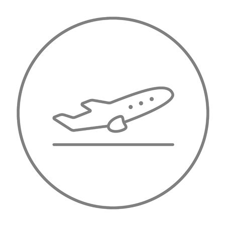 taking off: Plane taking off line icon for web, mobile and infographics. Vector grey thin line icon in the circle isolated on white background.