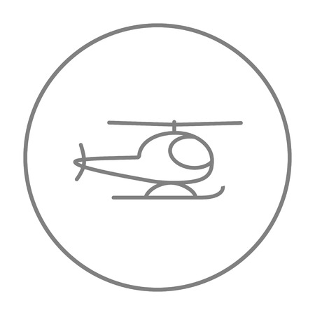 fuselage: Helicopter line icon for web, mobile and infographics. Vector grey thin line icon in the circle isolated on white background.