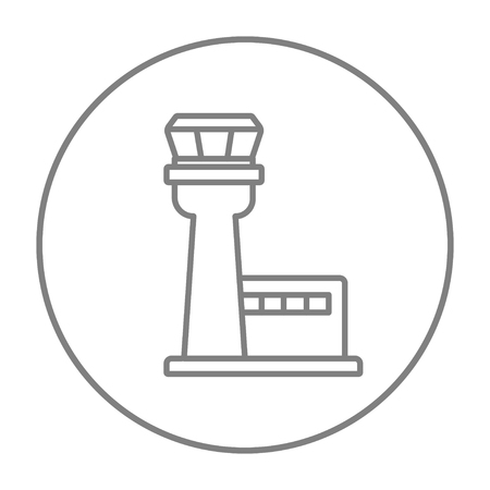 Flight control tower line icon for web, mobile and infographics. Vector grey thin line icon in the circle isolated on white background.