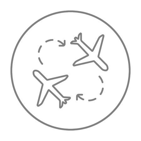 Airplanes line icon for web, mobile and infographics. Vector grey thin line icon in the circle isolated on white background. Vettoriali