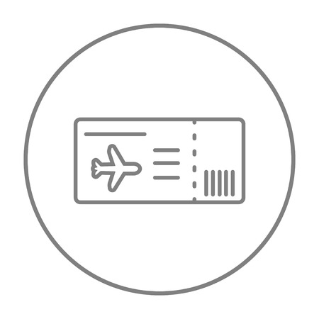 business class travel: Flight ticket line icon for web, mobile and infographics. Vector grey thin line icon in the circle isolated on white background.