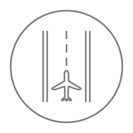 airport runway: Airport runway line icon for web, mobile and infographics. Vector grey thin line icon in the circle isolated on white background.