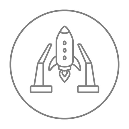 takeoff: Space shuttle on a take-off area line icon for web, mobile and infographics. Vector grey thin line icon in the circle isolated on white background.