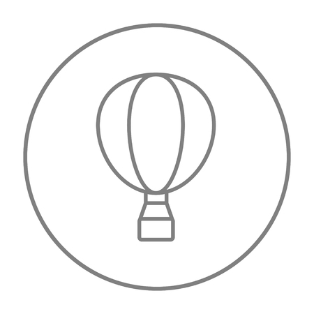 Hot air balloon line icon for web, mobile and infographics. Vector grey thin line icon in the circle isolated on white background. Ilustrace