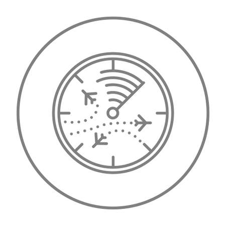 Radar screen with planes line icon for web, mobile and infographics. Vector grey thin line icon in the circle isolated on white background.
