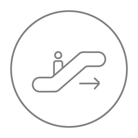 gangway: Gangway of the plane line icon for web, mobile and infographics. Vector grey thin line icon in the circle isolated on white background. Illustration