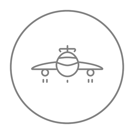 undercarriage: Airplane line icon for web, mobile and infographics. Vector grey thin line icon in the circle isolated on white background. Illustration