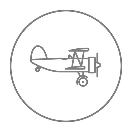 Propeller plane  line icon for web, mobile and infographics. Vector grey thin line icon in the circle isolated on white background.