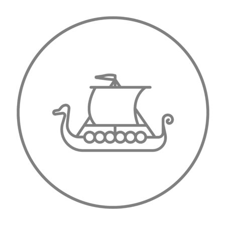 shallop: Old ship line icon for web, mobile and infographics. Vector grey thin line icon in the circle isolated on white background.