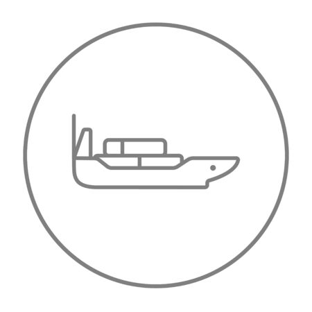 Cargo container ship line icon for web, mobile and infographics. Vector grey thin line icon in the circle isolated on white background.