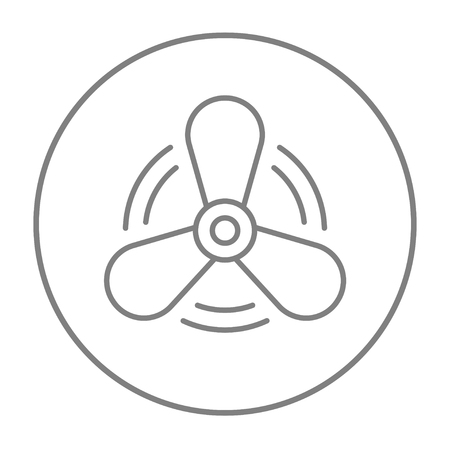 Boat propeller line icon for web, mobile and infographics. Vector grey thin line icon in the circle isolated on white background.