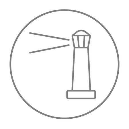 illuminative: Lighthouse line icon for web, mobile and infographics. Vector grey thin line icon in the circle isolated on white background. Illustration