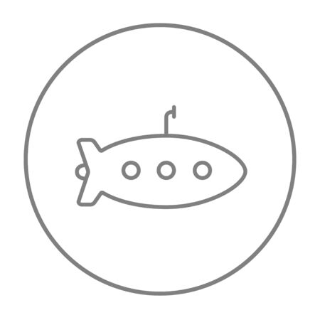 periscope: Submarine line icon for web, mobile and infographics. Vector grey thin line icon in the circle isolated on white background.
