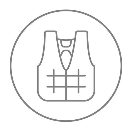 white coat: Life vest line icon for web, mobile and infographics. Vector grey thin line icon in the circle isolated on white background.