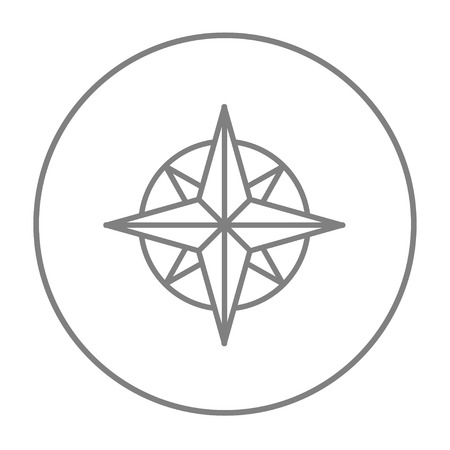 Compass wind rose line icon for web, mobile and infographics. Vector grey thin line icon in the circle isolated on white background.
