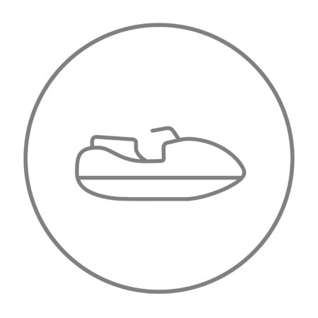 Jet scooter line icon for web, mobile and infographics. Vector grey thin line icon in the circle isolated on white background.