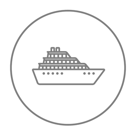 hull: Cruise ship line icon for web, mobile and infographics. Vector grey thin line icon in the circle isolated on white background.