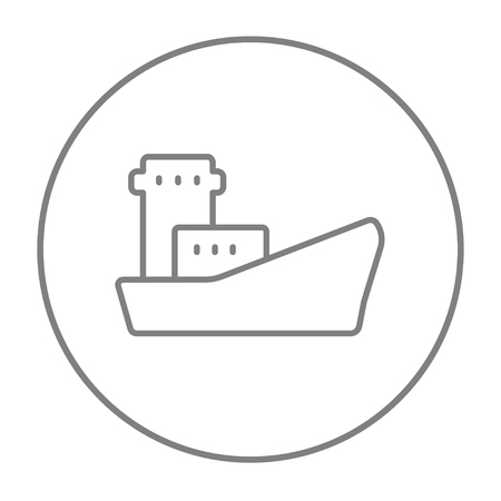 loading dock: Cargo container ship line icon for web, mobile and infographics. Vector grey thin line icon in the circle isolated on white background.